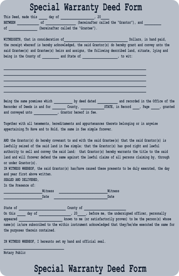 special warranty deed colorado Free Special Warranty Deed Form - Download a Free Warranty Deed Form
